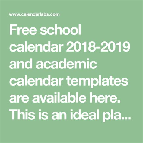 2018 academic calendar template free school calendar 2018 2019 and academic calendar