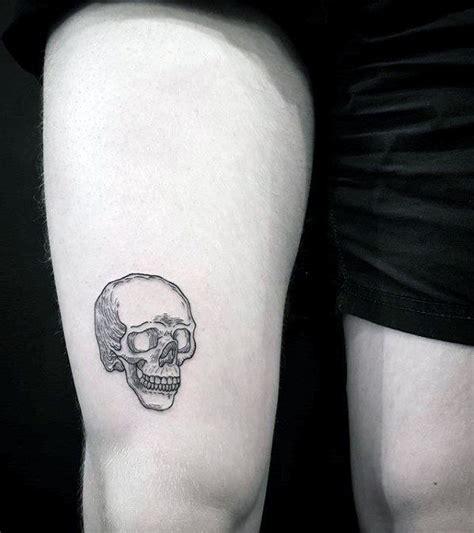 small leg tattoos for men 40 simple skull tattoos for bone ink design ideas