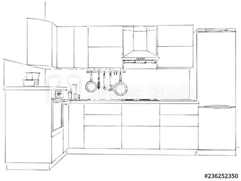 kitchen facade interior outline drawing front view buy