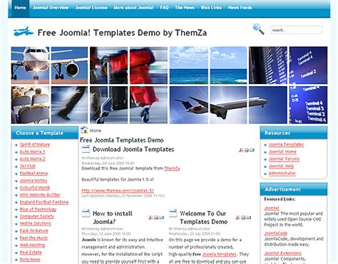 template joomla en francais gratuit aviation gratuit joomla 1 5 th 232 me d 233 sign par themza