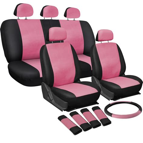 bench car seat covers faux pu leather car seat covers 11 piece set superior pink black bucket bench 1d ebay