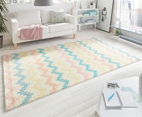 teppich läufer bunt design velours tapis peak pastelle cr 232 me multicolore