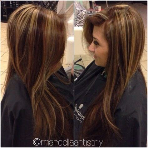 hair color combinations to color and highlight for women over 50 golden brown highlights on dark brown hair hair style
