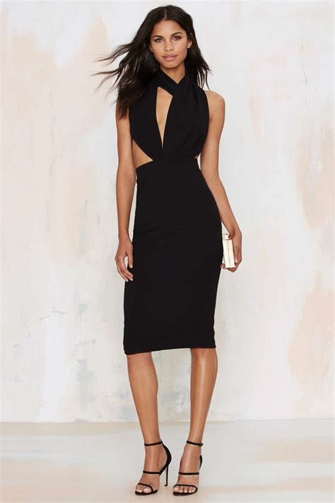 collection dresses misha collection helena asymmetrical dress in black lyst