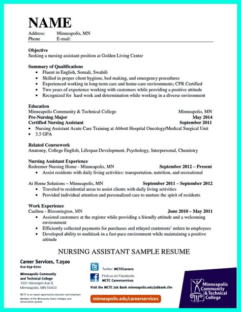 Nursing Assistant Resume by Impress The Employer With Great Certified Nursing