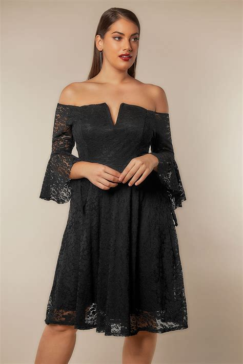 limited collection black bardot lace dress with flute sleeves plus size 16 to 32