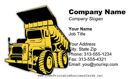 Dump Truck Business Cards Templates by Dump Truck Light Business Card