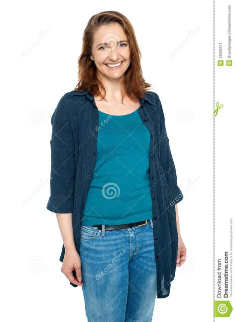 middle age trendy clothing cheerful middle aged woman in trendy clothing royalty free