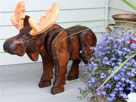 Moose Decor by Rustic Wood Carved Moose Rustic Decor Moose Decor Montana
