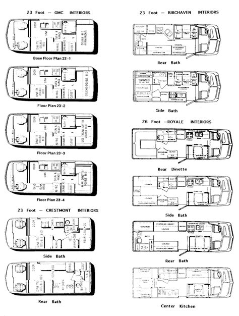 gmc motorhome floor plans gmc motorhome