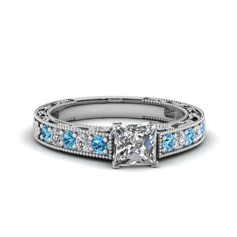 princess cut milgrain pave engagement ring with