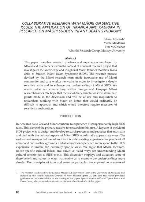 sids research paper collaborative research with m艨ori on pdf