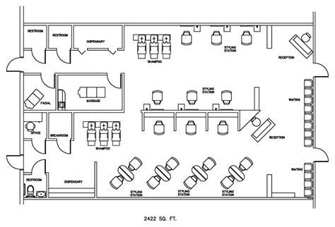 Hair Salon Floor Plans by Salon Floor Plan Design Layout 2422 Square Foot