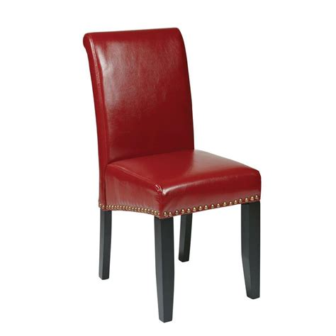french style dining room chairs ospdesigns crimson red eco leather parsons dining chair m