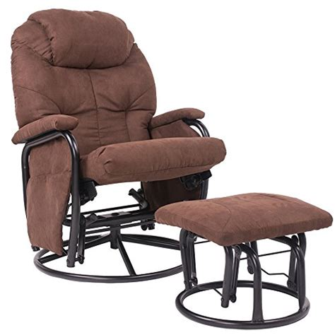 swivel glider recliner with ottoman merax 174 brown luxury suede fabric nursery glider rocking