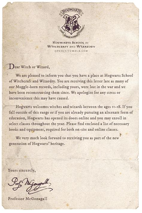 Hogwarts Acceptance Letter Late Apologies For The Late Acceptance Letter Or Maybe The Written Wizarding World Harry
