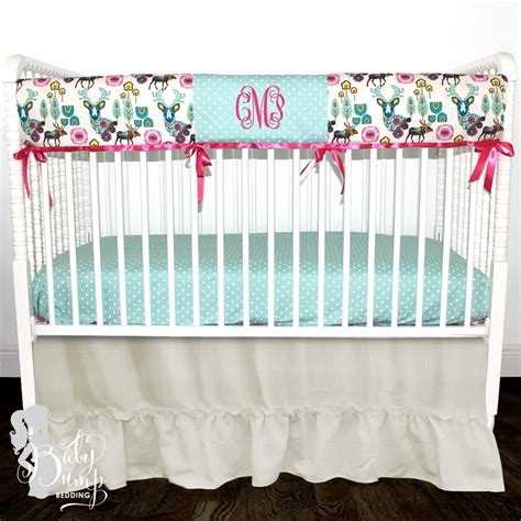 boho crib bedding boho deer woodland baby girl crib bedding