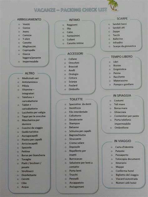 cose da portare in vacanza lista di cose utili da portare in vacanza packing list