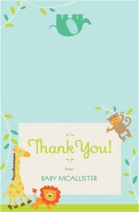 safari thank you card template printable jungle animals thank you card template