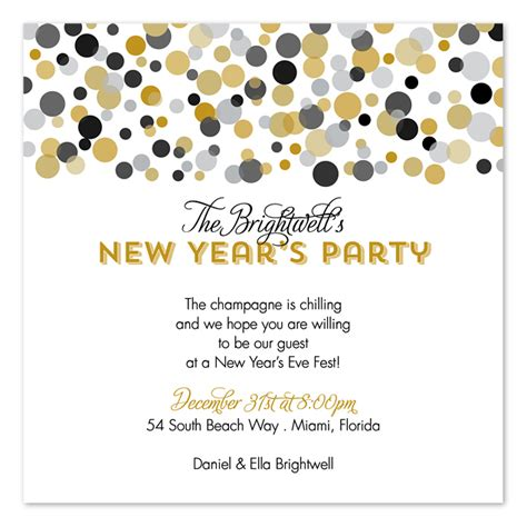 new year celebration invitation confetti new year s invitations by