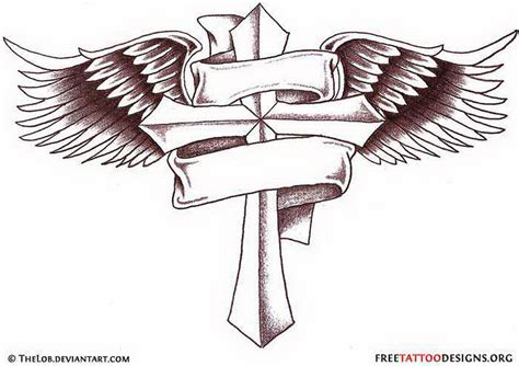 angel wings tattoo with cross cross images designs