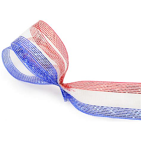 Striper White 2 5 quot poly mesh ribbon metallic white blue stripe