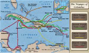 columbus map the voyages of christopher columbus