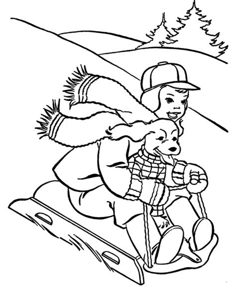 bluebonkers printable winter coloring sheets sledding