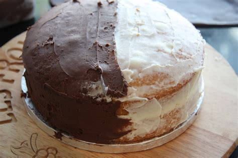 a cake of two halves half chocolate half vanilla birthday cake lovinghomemade