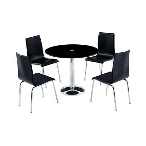 orbit 90cm black glass dining table with 4 chairs
