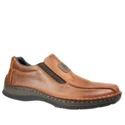 rieker mens wide slip on shoe brown leather shoes gb