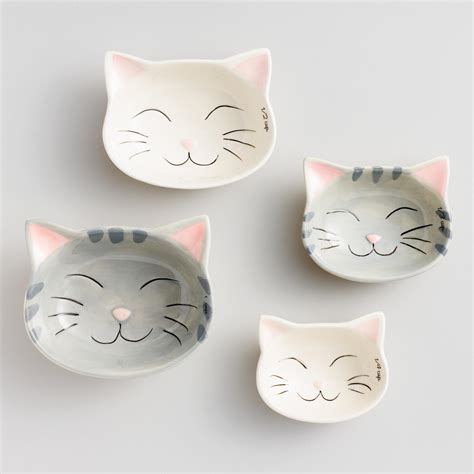 1 X Ceramic Cat Measuring Cups Baking Bowls - cat ceramic measuring cups world market