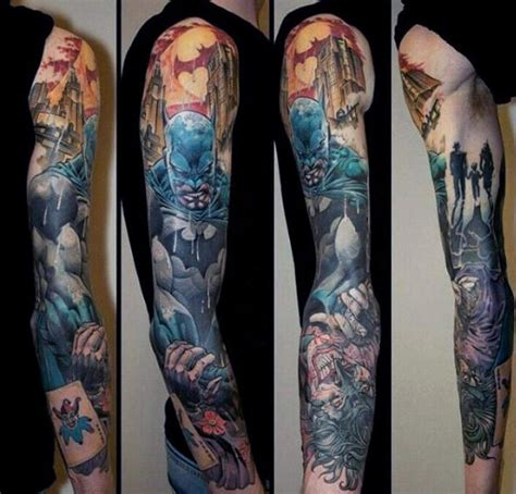 batman comic tattoo sleeve 100 batman tattoos for men superhero ink designs