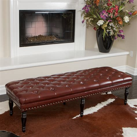 Livingroom Bench by Peoria Tufted Leather Bench Modern Living Room Los