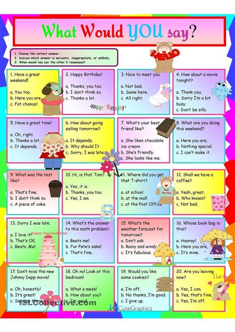 idioms what would you say worksheet free esl printable