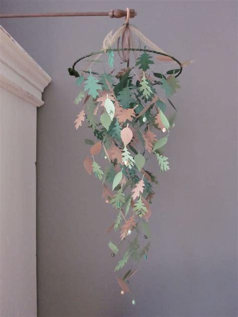 woodland nursery light fixture nature inspired paper leaves mobile in green shades and