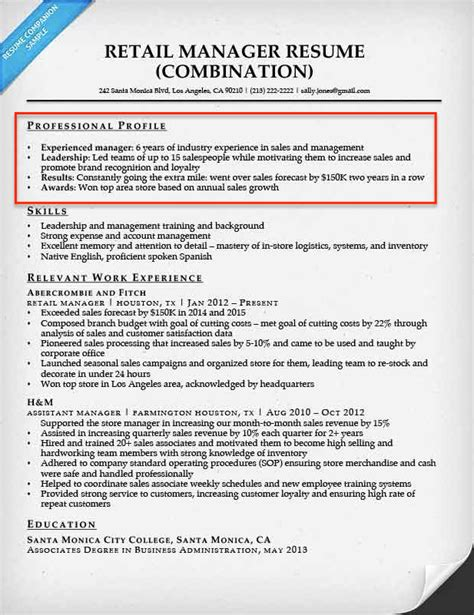 Resume Profile Exles Retail Resume Profile Exles Writing Guide Resume Companion