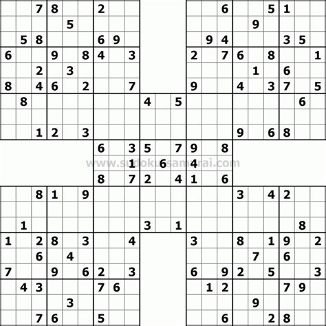 printable sudoku and crossword puzzles samurai sudoku puzzles pinterest