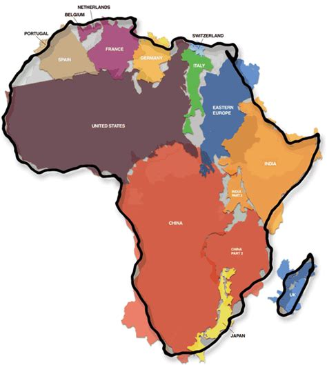 size of africa map the true size of africa information is beautiful