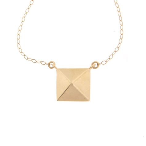 14k gold pyramid necklace square pendant