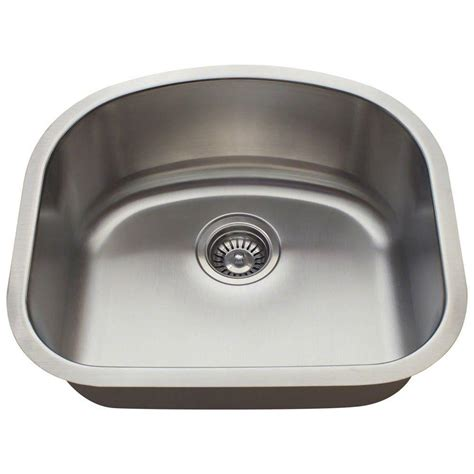 Stainless Steel Undermount Single Bowl Kitchen Sink Polaris Sinks Undermount Stainless Steel 20 In Single Basin Kitchen Sink P812 16 The Home Depot