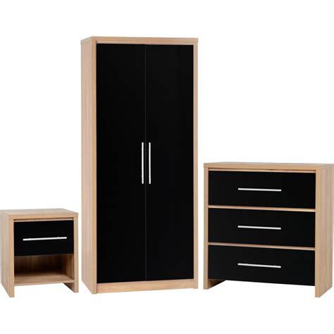 Wardrobes Sets by Superb 3 Wardrobe Set In Black High Gloss