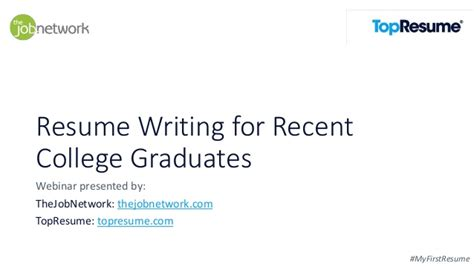 Resume Writing For College Graduates How To Write A Resume Webinar For Recent College Graduates