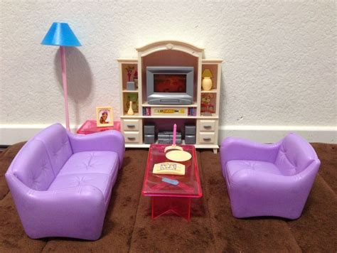barbie size dollhouse furniture living room with tv dvd