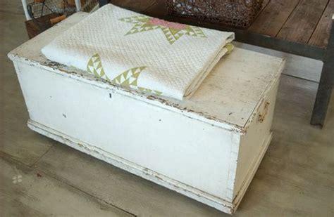 large antique primitive shabby chic white blanket box