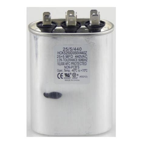 run capacitor specifications tradepro 440 volt 25 5 mfd dual motor run oval capacitor tp255440 the home depot