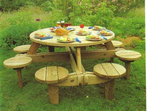round wooden garden table bench home www woodstylejoinery co uk