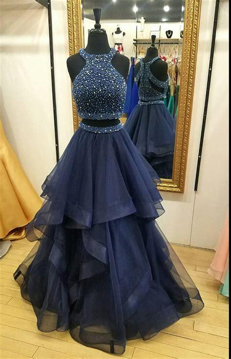 charming navy blue prom dresstwo piece prom dressesball