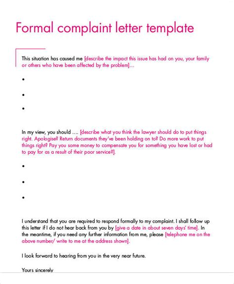 Complaint Letter For Poor Service Pdf template for complaint letter 28 images complaint