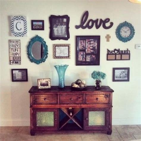 Wall Collage Ideas Living Room by Buffet Table Hutch With Wall Collage Do It Yourself